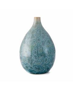 Crystalline Teardrop Vase — Teal