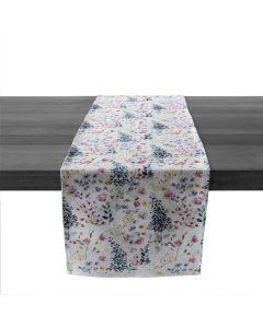 Hemmed Linen Runner, 95ʺ — Floral