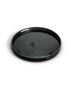 Black Round Mirror Tray