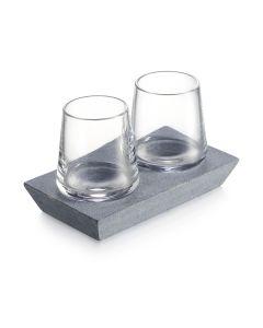 Alpine Whiskey Glass Set of 2 with Soapstone Base