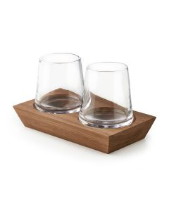 Ludlow Whiskey Pair with Wood Base