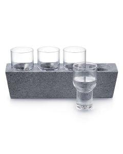 Alpine Vodka Glass Set of 4 with Soapstone Base