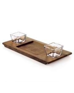 Andrew Pearce Black Walnut Dunmore Board & Glass Bowl Set