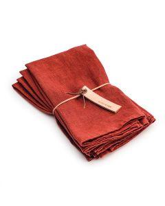 English Rose Hemmed Linen Napkins - Set of 4