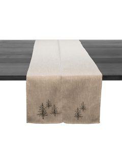 Green Pine Natural Linen Runner - 95 Inch