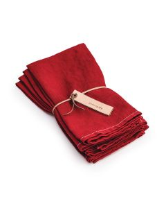 Red Hemmed Linen Napkins with White Stitch - Set of 4