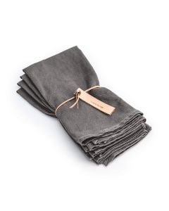 Grey Hemmed Linen Napkins (Set of 4)