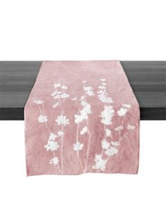 Floral Watercolor Linen Runner, Pink — 67ʺ