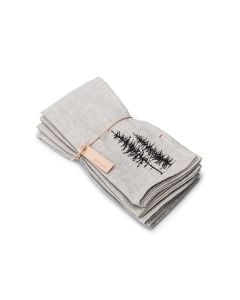 Linen Napkins, 18″ — Natural with Trees (Set of 4)