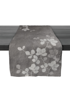 Linen Runner, 67″ — Grey Oak Leaf