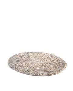 White Wash Rattan Oval Placemat