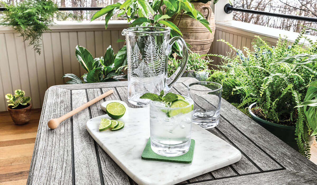 Picnic with Barware including Ascutney Double Old Fashion and Ascutney Fern Engraved Pitcher