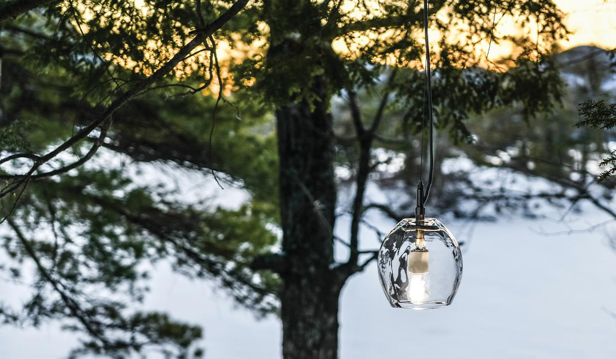 Vine Globe Pendant Against Winter Scene