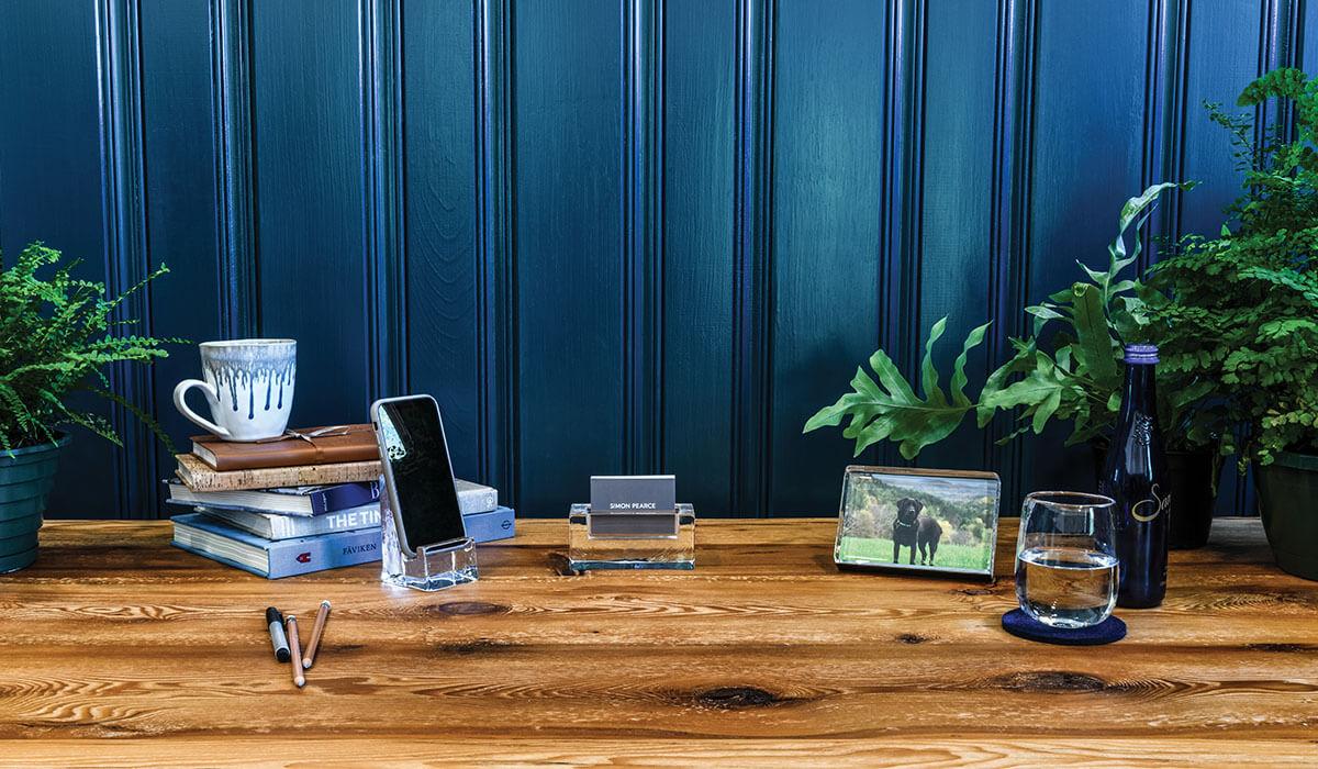 Office gifts including Woodbury Phone Holder, Horizontal Photo Block + Woodbury Cardholder