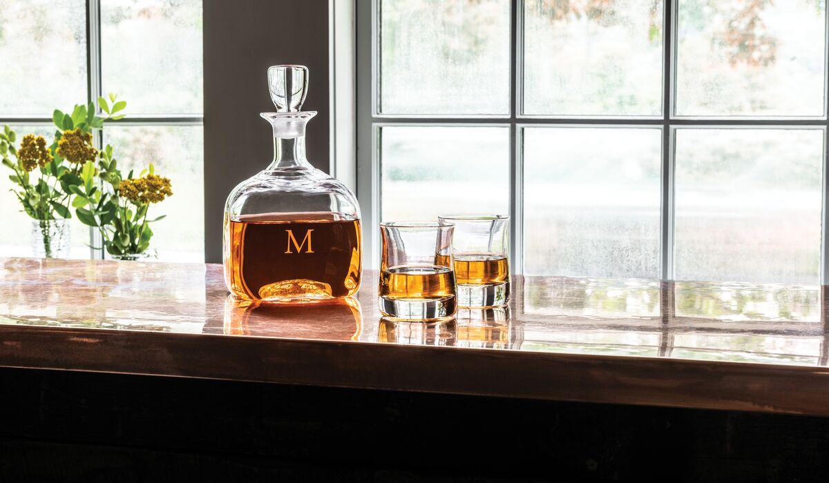engraved  Woodbury Decanter and Shoreham Whiskey