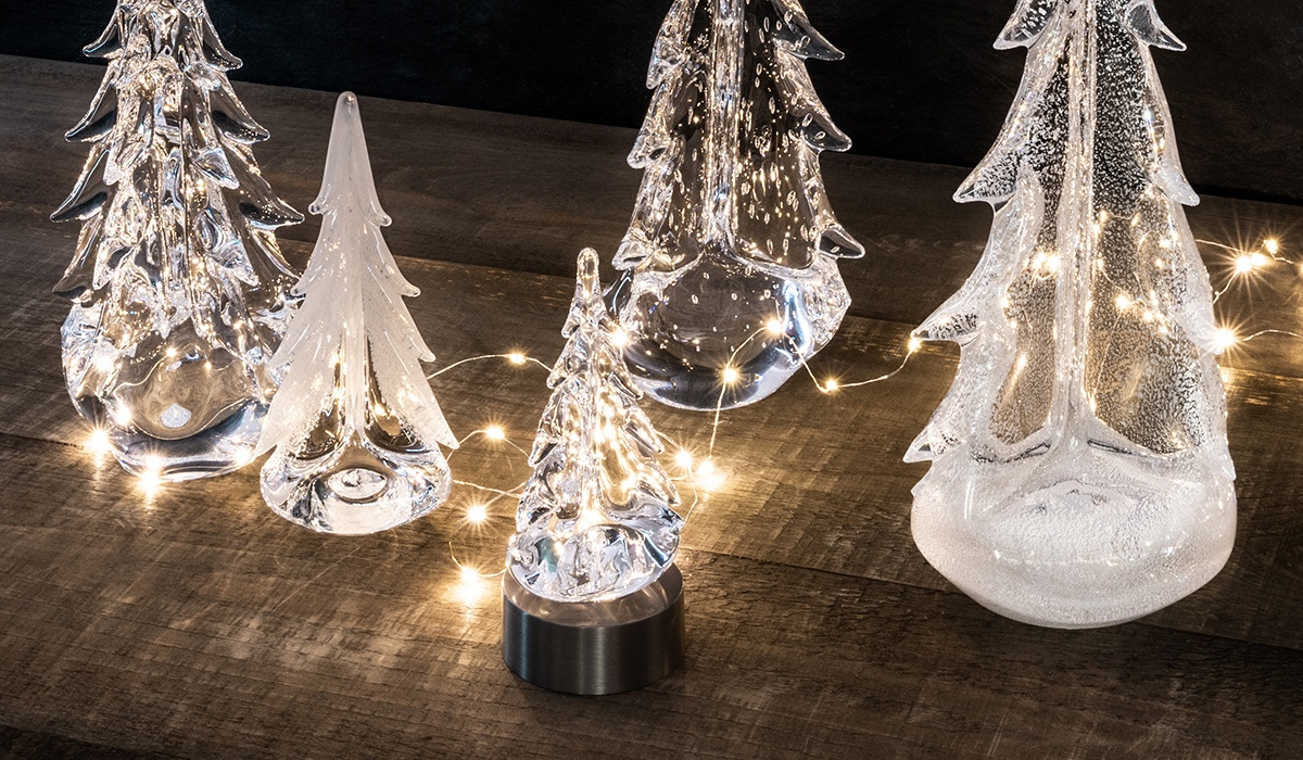 Assortment of Glass Trees With LEDs and Twinkle Lights