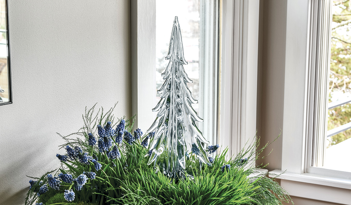 Five-Sided Evergreen Glass Tree