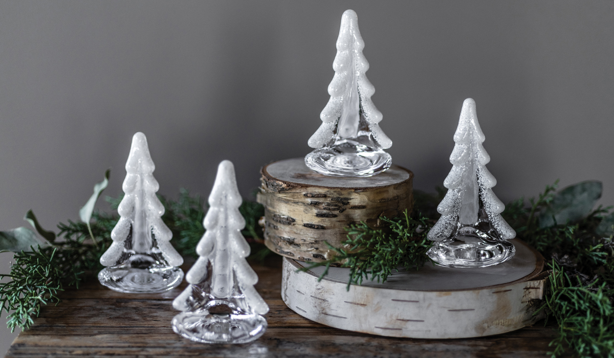 Snowy Branch Evergreen Glass Tree