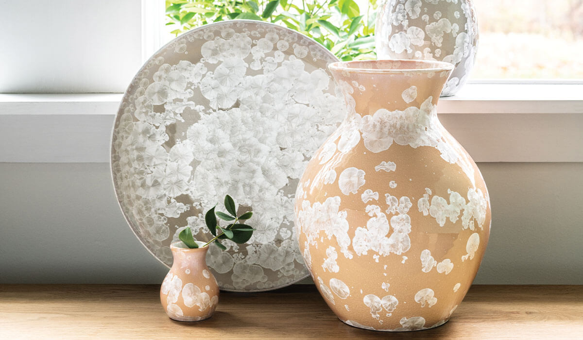 Crystalline Collection of Vases and Platters
