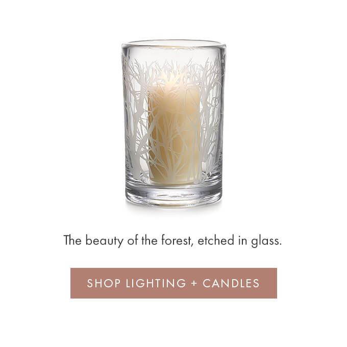 The beauty of the forest, etched in glass - SHOP LIGHTING + CANDLES >