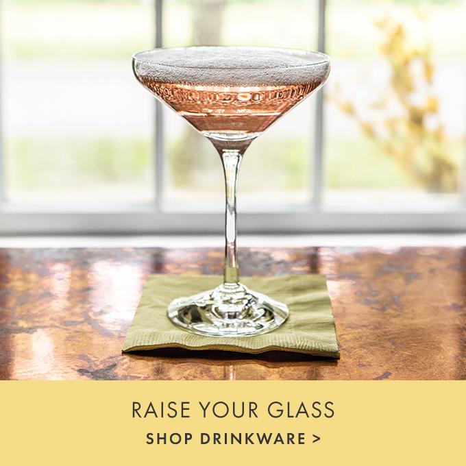 RAISE YOUR GLASS —  SHOP DRINKWARE >