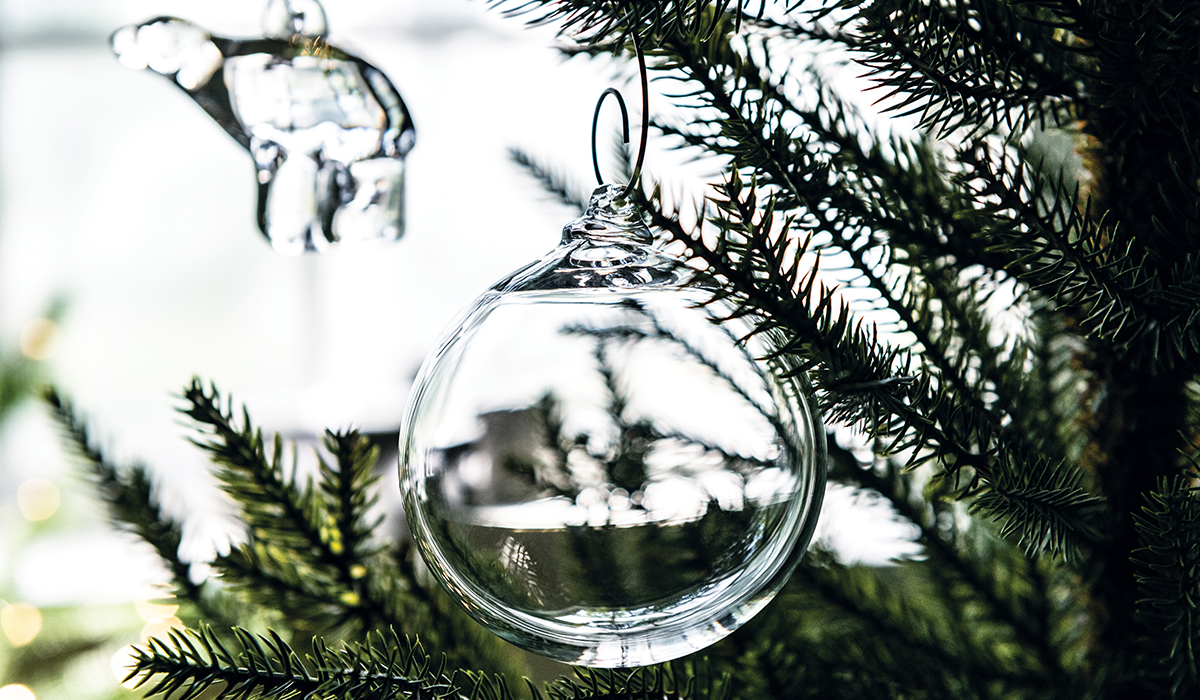 Glass Ornament Hanging From Evergreen Tree