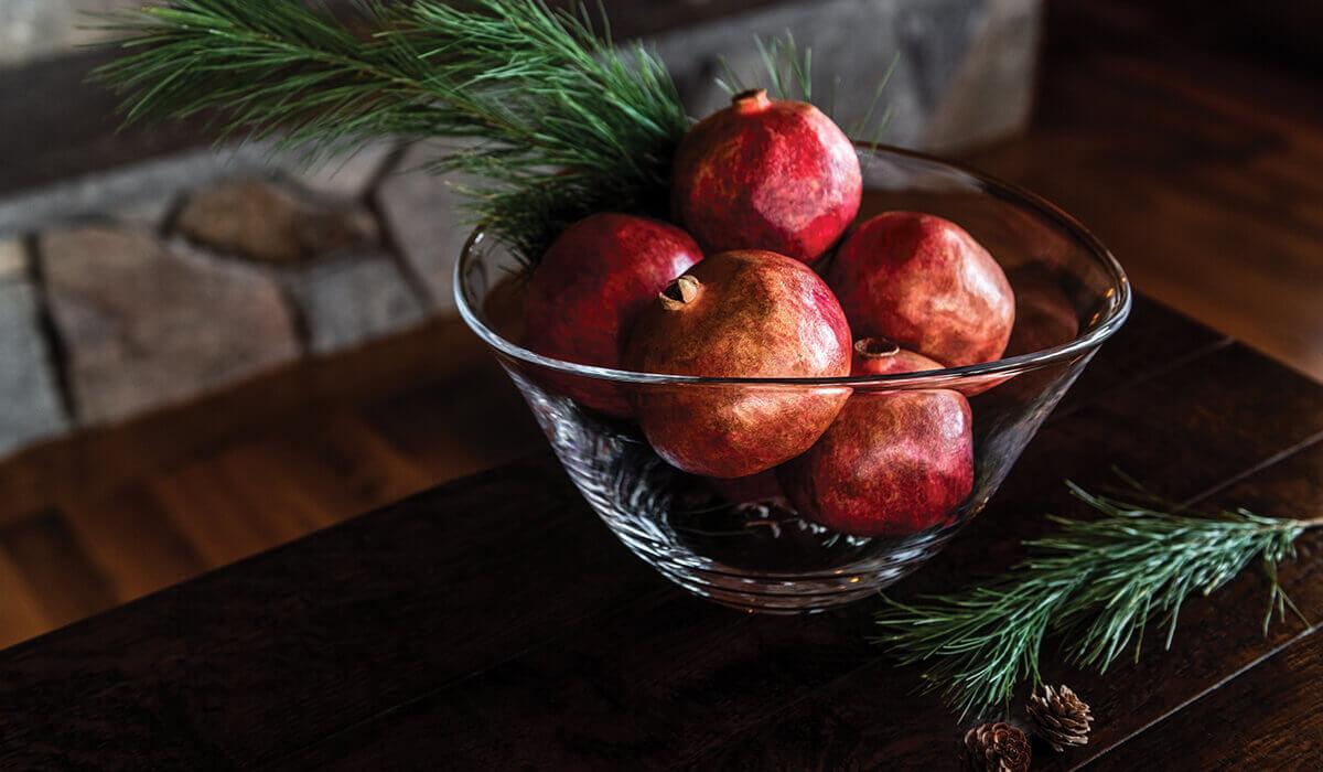 Barre Bowl with Pomegranates
