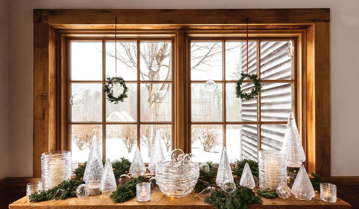 Winter Mantel with Glass Tress, Glass Baskets and Hurricane Candleholders