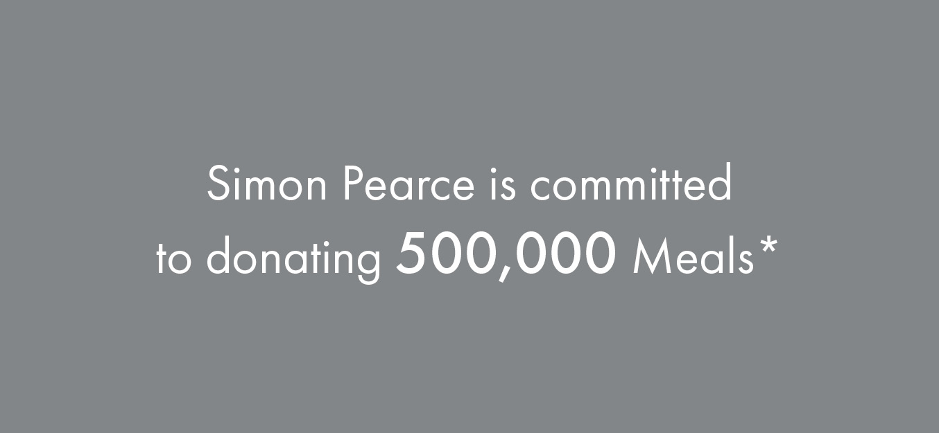 Simon Pearce is committed to donating 500,000 meals*